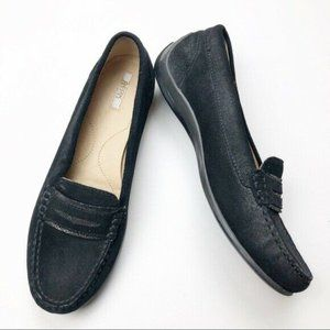 Geox Respira Suede Moccasin Loafers Black 38.5